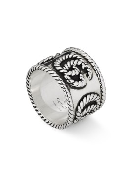 GUCCI GG MARMONT RING IN SILVER WITH DOUBLE G
