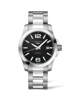 LONGINES CONQUEST AUTOMATIC WATCH IN STAINLESS STEEL AND BLACK DIAL