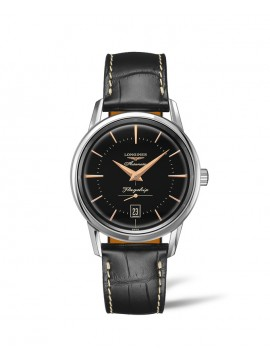 LONGINES FLAGSHIP HERITAGE AUTOMATIC WATCH IN STAINLESS STEEL WITH BLACK DIAL AND BLACK LEATHER STRAP