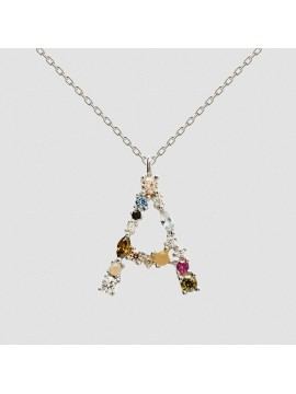 PDPAOLA I AM LETTER A NECKLACE IN GOLD-PLATED SILVER AND COLORED STONES