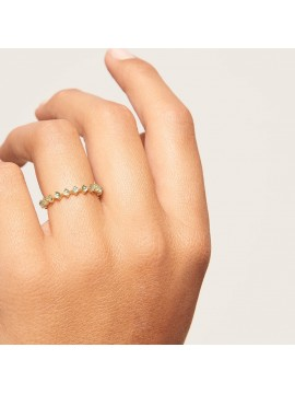 PDPAOLA MINT BIRD RING IN YELLOW GOLD PLATED SILVER