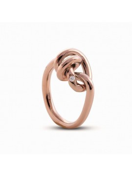 FILODAMORE LOVE KNOTS RING IN 9 KT ROSE GOLD AND WHITE DIAMOND - MIS 17