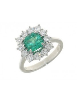 MIRCO VISCONTI RING IN WHITE GOLD WITH COLOMBIAN EMERALD AND DIAMONDS