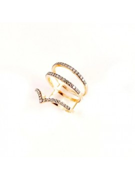 CRIVELLI 3-WIRE BAND RING IN ROSE GOLD AND BROWN DIAMONDS