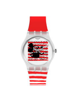SWATCH MOUSE MARINIÈRE WHITE AND RED UNISEX WATCH WITH DISNEY MICKEY MOUSE