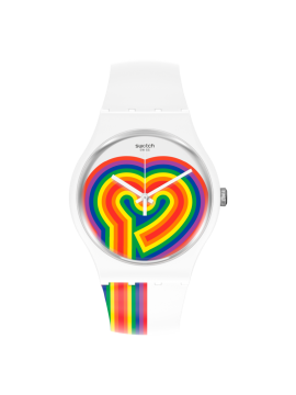 SWATCH BEATING LOVE WHITE UNISEX WATCH WITH WHITE SILICONE STRAP