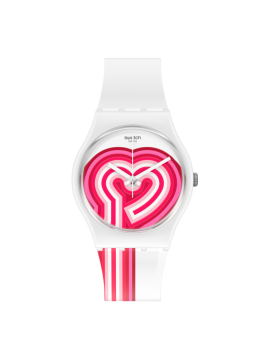 SWATCH BEATPINK WHITE WATCH WITH WHITE AND FUCHSIA SILICONE STRAP