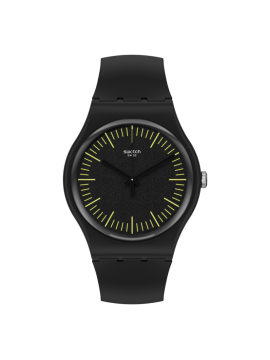 SWATCH BLACKNYELLOW BLACK UNISEX WATCH WITH BLACK AND YELLOW SILICONE STRAP