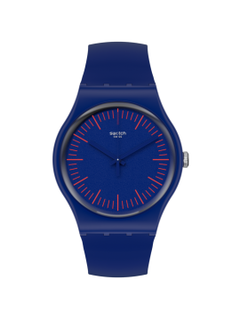 SWATCH BLUENRED UNISEX BLUE WATCH WITH BLUE AND RED SILICONE STRAP