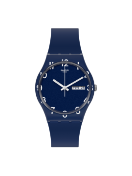 SWATCH OVER BLUE UNISEX BLUE WATCH WITH BLUE SILICONE STRAP