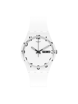 SWATCH OVER WHITE WHITE WATCH WITH WHITE SILICONE STRAP