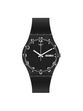 SWATCH OVER BLACK UNISEX BLACK WATCH WITH BLACK SILICONE STRAP