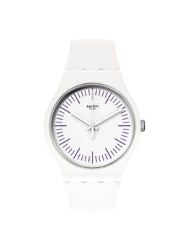 SWATCH WHITENPURPLE UNISEX WHITE WATCH WITH WHITE AND PURPLE SILICONE STRAP