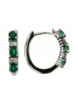 MIRCO VISCONTI EARRINGS IN WHITE GOLD WITH COLUMBIA EMERALDS AND DIAMONDS