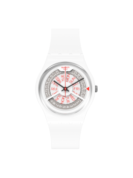 SWATCH N-IGMA WHITE UNISEX WHITE WATCH WITH WHITE SILICONE STRAP