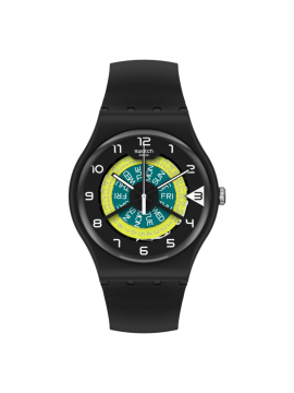 SWATCH KEEP TURNING BLACK UNISEX WATCH WITH BLACK SILICONE STRAP