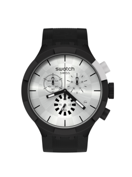 SWATCH CHECKERED SILVER BLACK UNISEX CHRONOGRAPH WATCH WITH SILICONE STRAP