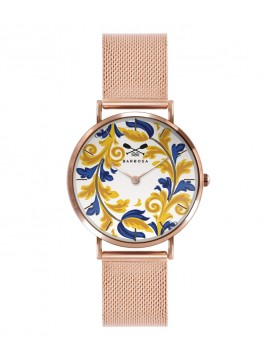 BARBOSA YELLOW AND BLUE MAJOLICA WATCH IN STEEL ROSE GOLD TONE DM 36.5CM