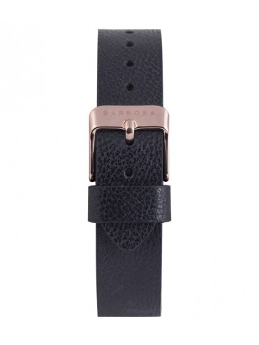 BARBOSA BLACK LEATHER STRAP WITH ROSE DETAILS FOR WATCHES DM 36.5CM