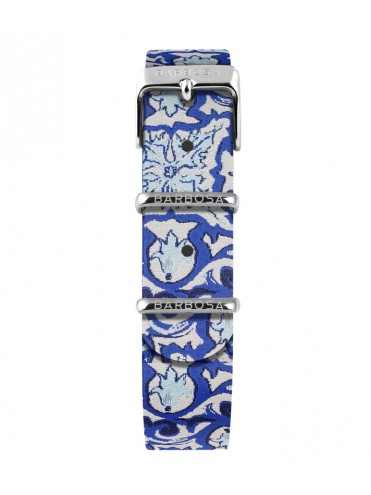 BARBOSA STRAP IN BLUE MAJOLICA JACQUARD FABRIC WITH SILVER DETAILS FOR WATCHES DM 36.5CM
