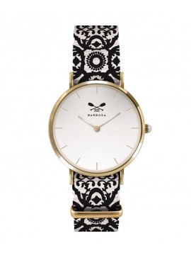 BARBOSA STEEL WATCH YELLOW GOLD TONE WITH WHITE DIAL DM 36.5CM