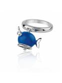 CHANTECLER WHALE MICRO RING IN SILVER BLUE ENAMEL WHITE DIAMOND