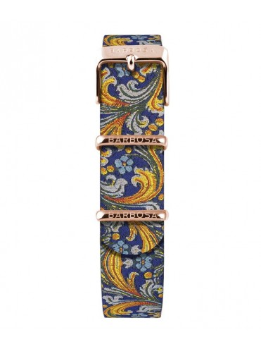 BARBOSA BLUE AND YELLOW MAJOLICA JACQUARD FABRIC STRAP WITH ROSE GOLD DETAILS FOR DM 36.5CM WATCHES
