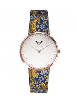 BARBOSA STEEL WATCH ROSE GOLD TONE WITH WHITE DIAL DM 36.5CM