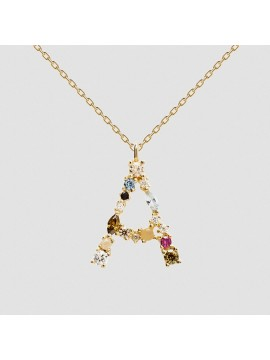 PDPAOLA I AM NECKLACE WITH LETTERS IN 925 GOLD-PLATED SILVER WITH ZIRCONIA AND RAINBOW EFFECT STONES