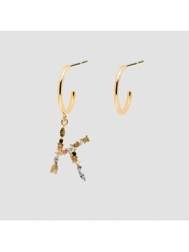 PDPAOLA I AM EARRINGS WITH LETTERS IN 925 SILVER GOLD PLATED 18 K WITH ZIRCONIA AND RAINBOW EFFECT HARD STONES