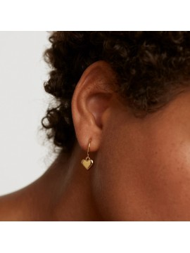 PDPAOLA EARRINGS L'ABSOLU ENGRAVE ME IN SILVER 925 STERLING GOLD PLATED WITH HEART
