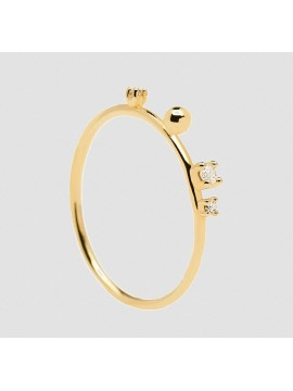 PDPAOLA KAYA L'ESSENTIEL RING IN SILVER 925 GOLD PLATED WITH WHITE ZIRCONIA