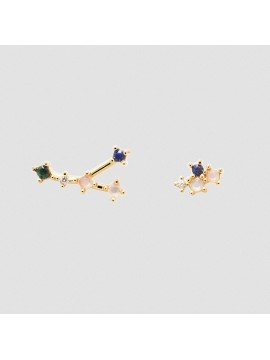 PDPAOLA ZODIAC CANCER EARRINGS IN 925 GOLD PLATED SILVER AND HARD STONES