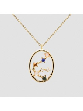 PDPAOLA ZODIAC AQUARIUS NECKLACE IN 925 GOLD PLATED SILVER AND HARD STONES