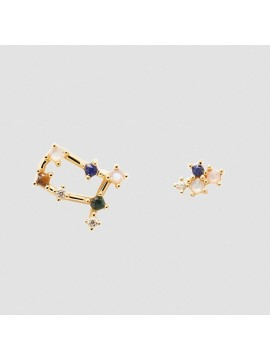 PDPAOLA ZODIAC GEMINI EARRINGS IN 925 GOLD PLATED SILVER AND HARD STONES