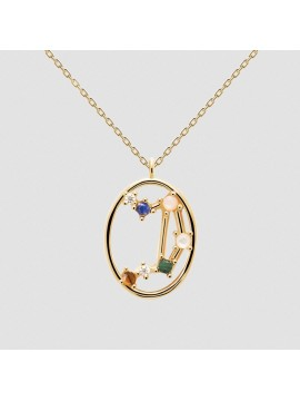 PDPAOLA ZODIAC LIBRA NECKLACE IN 925 GOLD PLATED SILVER AND HARD STONES