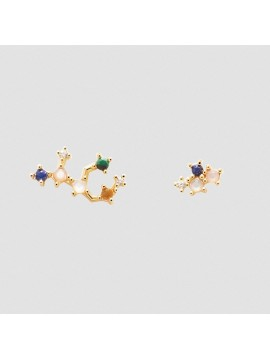 PDPAOLA VIRGIN ZODIAC EARRINGS IN 925 GOLD PLATED SILVER AND HARD STONES