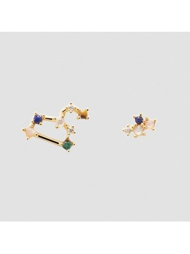 PDPAOLA ZODIAC LION EARRINGS IN 925 GOLD PLATED SILVER AND HARD STONES