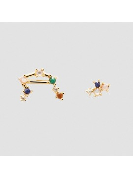 PDPAOLA ZODIAC LIBRA EARRINGS IN 925 GOLD PLATED SILVER AND HARD STONES