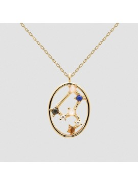 PDPAOLA ZODIAC LEO NECKLACE IN 925 GOLD PLATED SILVER AND HARD STONES