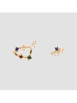 PDPAOLA ZODIAC CAPRICORN EARRINGS IN 925 GOLD PLATED SILVER AND HARD STONES