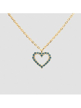 PDPAOLA HEART LIGHT BLUE NECKLACE IN SILVER 925 18K GOLD PLATED WITH BLUE SPINEL