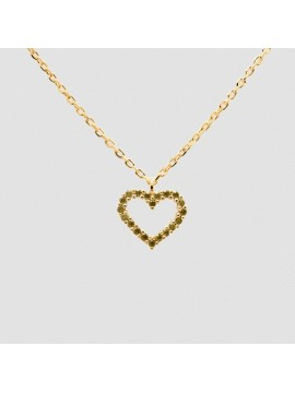 PDPAOLA OLIVE HEART NECKLACE IN SILVER 925 18K GOLD PLATED WITH OLIVE GREEN ZIRCON