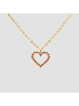 PDPAOLA LAVANDER HEART NECKLACE IN 925 SILVER GOLD PLATED 18K WITH RHODOLITE