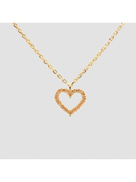 PDPAOLA CHAMPAGNE HEART NECKLACE IN 925 SILVER GOLD PLATED 18K WITH CHAMPAGNE ZIRCON
