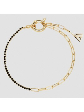 PDPAOLA BLACK MIRAGE BRACELET IN SILVER 925 GOLD PLATED WITH BLACK ZIRCONIA