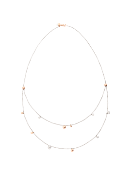 DODO BOLLICINE BAVAROLE NECKLACE IN STERLING SILVER AND 9K ROSE GOLD