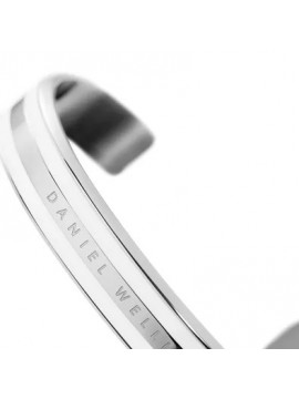 DANIEL WELLINGTON SATIN WHITE BRACELET IN SILVER TONE STAINLESS STEEL