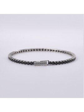 MABINA MAN BLACK TENNIS BRACELET IN BURNISHED SILVER