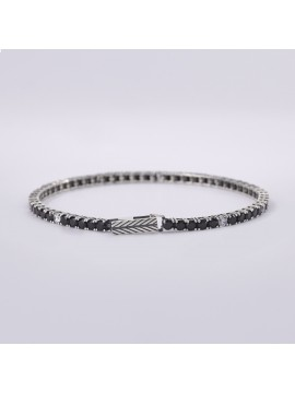 MABINA MAN TENNIS BRACELET IN BURNISHED SILVER AND BLACK AND WHITE ZIRCONIA